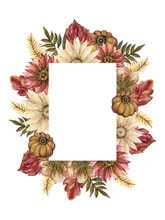 Fall Autumn Invitation Design Wreath Bouquet Frame Card, Leaves Flower Foliage Seasonal Botanical Garden Forest Watercolor Illustration Isolated On White