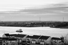 South Shields UK: 10th Jan 2020 Port Of Tyne View With A Metro Ferry On River Tyne