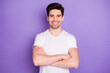 canvas print picture - Photo handsome attractive guy student arms crossed confident business man guy young successful freelancer toothy smile wear casual white t-shirt isolated purple color background