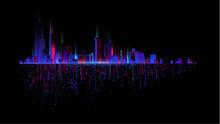 Night City With Neon Glow On Dark Background Vector 07