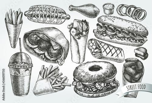 Foto Ink hand drawn set of street food - hot dog, sandwich, French fries, nuggets, bagel, milkshake, ice cream