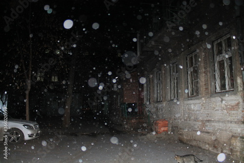 winter snowy city with snow flakes - 366020399