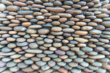 Closeup Rounded Stone Are Arranged In Layers Abstract Texture Background