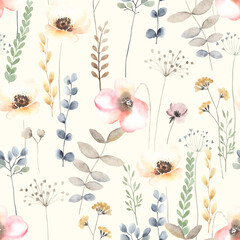 Panel Szklany Ogrody Watercolor floral seamless pattern with colorful wildflowers, leaves and plants. Garden illustration in vintage style on ivory background.
