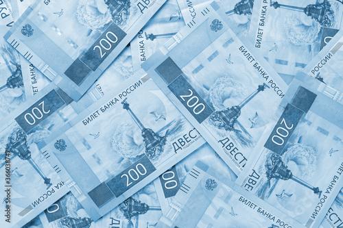 Fotografie, Obraz A field of Russian banknotes 200 rubles