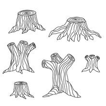 Tree Stump Vector Set. Illustr...