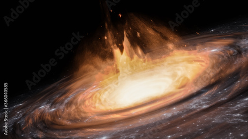 Quasar or black hole with accretion disk and gas clouds 3D rendering illustration Canvas Print