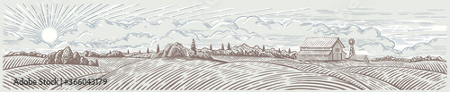 Obraz Rural landscape panoramic format with a farm. Hand drawn Illustration in engraving style.	 - fototapety do salonu
