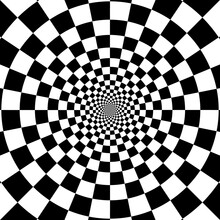 Abstract Circle Checkered Background. Optical Illusion Effect
