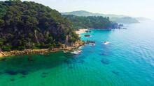 Beautiful Aerial View Of Cala Santa Cristina, Blanes, Costa Brava, Spain