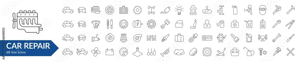 Fototapeta Car repair line icon set. Isolated signs on white background. Services & car parts & toolsVector illustration. Collection