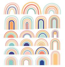 Pastel Stylish Trendy Rainbows Vector Illustrations