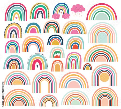 Stampa su Tela Pastel stylish trendy rainbows vector illustrations