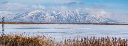 Panoramic shot of Great Salt lake in Utah Fototapeta