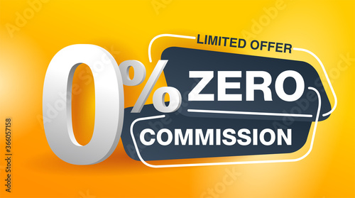Fototapeta 0 zero commission special offer banner template in yellow an dark gray colors -