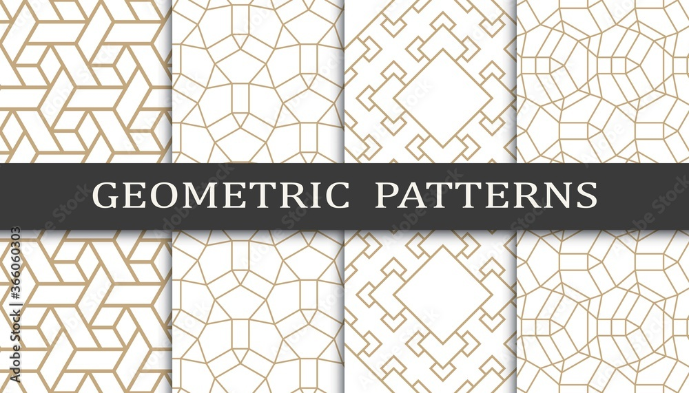 Fototapeta Set of geometric seamless patterns. Abstract geometric graphic design print pattern. Seamless geometric golden lines pattern.
