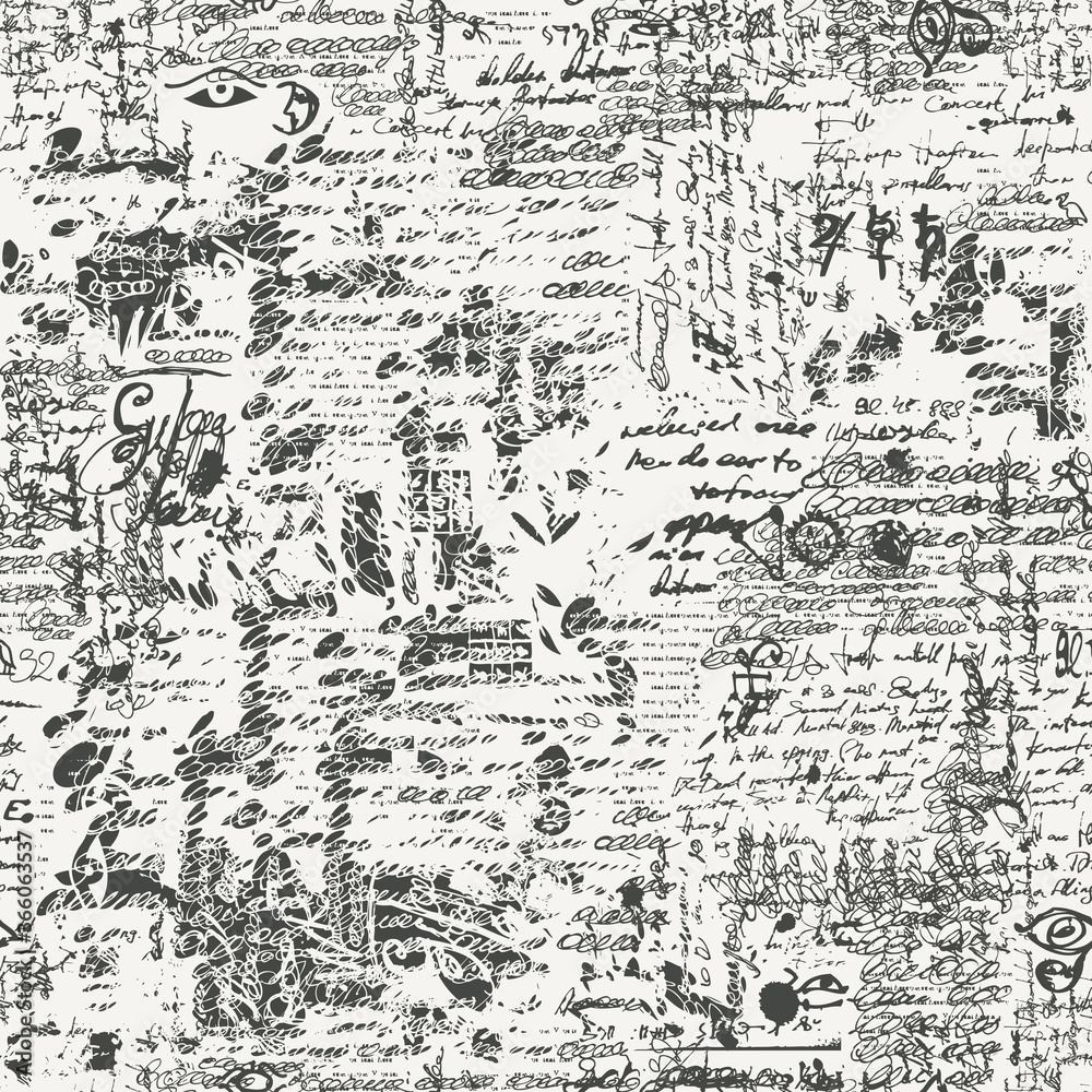 Fototapeta Seamless pattern with black unreadable scribbles imitating handwritten text on a light background in retro style. Vector abstract repeating background. Suitable for wallpaper, wrapping paper, fabric