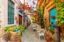 Colorful Historical Street View In Ayvalik Town.
