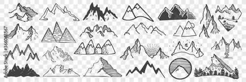 Stampa su Tela Hand drawn mountain peaks doodle set.