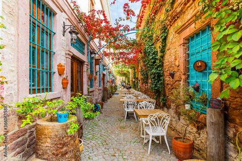 Fototapeta premium Colorful historical street view in Ayvalik Town.