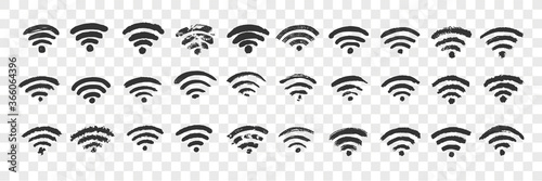 Hand drawn wifi sign doodle set Canvas-taulu