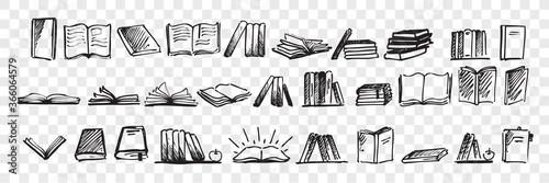 Photo Hand drawn books doodle set