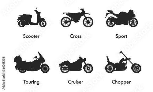 Obraz Motorcycle Icon Vector Logo Template. Side view, profile. Types of motorcycles - fototapety do salonu