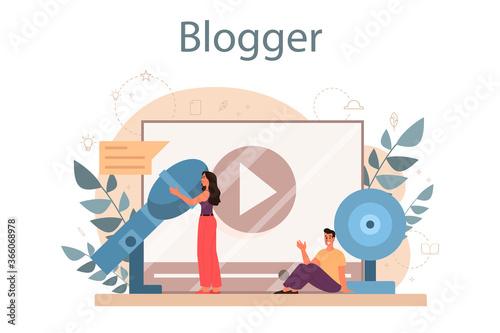 Obraz Blogger concept. Sharing media content in the internet. Idea of social - fototapety do salonu