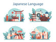 Japanese learning concept set. Language school japanese course.