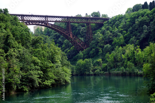 Italy, Lombardy, along the Adda river, the Bridge of Paderno d'Adda Canvas Print