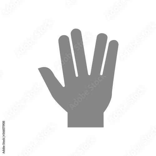 фотография Salute gray icon. Live long and prosper gesture symbol