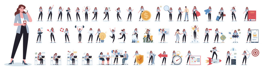 Fototapeta na wymiar Set of business woman or office worker character with various poses