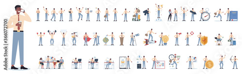 Businessman character set. Poses and meeting, data and hero.