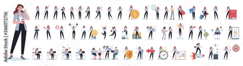Set of business woman or office worker character with various poses - 366072716