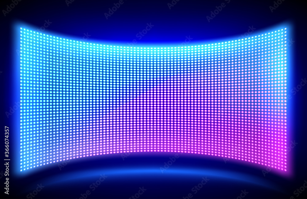 Fototapeta Led concave wall video screen with glowing blue and purple dot lights on black background. Vector illustration of grid pattern for led display on stadium or scene. Digital panel with mesh diode lamps