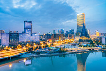 Night View Of European Central City Buildings In Chengdu, Sichuan, China