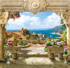 Fototapeta Architektura Arch with columns and views of the Mediterranean Sea, the old town and ships