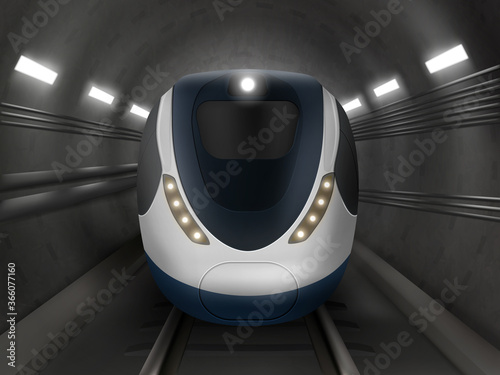Fotografija Train or metro in tunnel front view, subway locomotive on rails with windshield and illumination