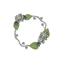 Hand Drawn Lotus Flower Wreath...