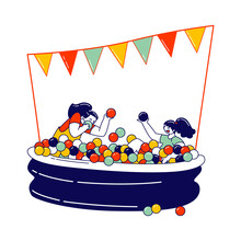 Happy Children Characters Fooling In Dry Ball Pool, Little Girls Visiting Amusement Park. Cheerful Kids On Playground