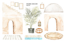 Watercolor Design Elements Of Modern Interior Items. Marrocco Vibes. Home Decor: Stair, Frame, Arc, Plant, Rug, Lamp. Perfect For Your Own Projects, Posters, Prints, Magazine, Cards