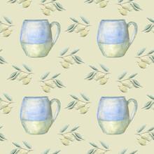 Seamless Pattern With Mugs And...