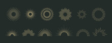 Sun Burst Vector Icons Set. Vi...