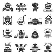 Homemade Food Badges. Kitchen Cooking Symbols Vector Illustrations. Cook Food Emblem, Bistro Sign, Saucepan Domestic Logo