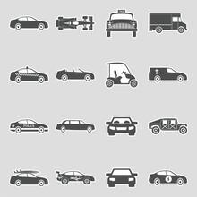 Car Icons. Sticker Design. Vector Illustration.