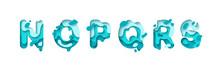 Paper Cut Letter N, O, P, Q, R, S.. Design 3d Sign Isolated On White Background. Alphabet Font Of Melting Liquid. Vector Illustration