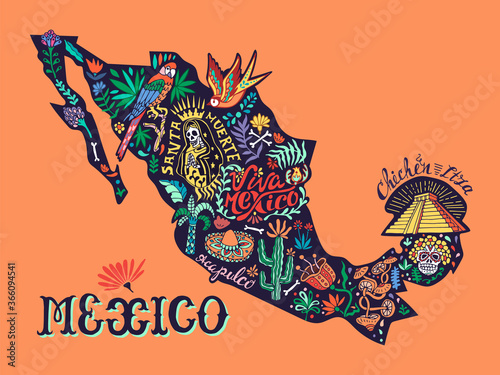 Fényképezés Illustrated stylized map of Mexico