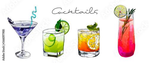 Photographie Hand drawn illustration of set of cocktails.