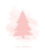 Merry Christmas. Christmas Wishes Vector Card. Pink Sketched Christmas Tree on a Pastel Pink Watercolor Style Background. Christmas Illustration. Tree Made of Scribbles.