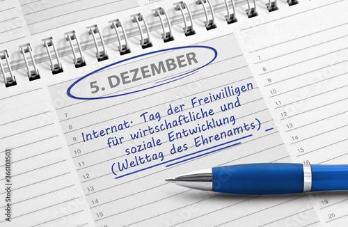 Fototapeta Notiz: 5. Dezember, Welttag des Ehrenamts